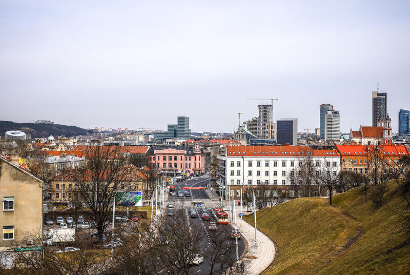 Stara Litewska architektura Vilnius miasto Ogólny odgórny widok zdjęcia royalty free