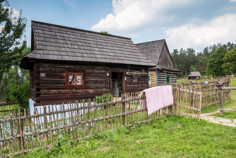Stara Lubovna in Slowakije - openluchtmuseum stock afbeelding
