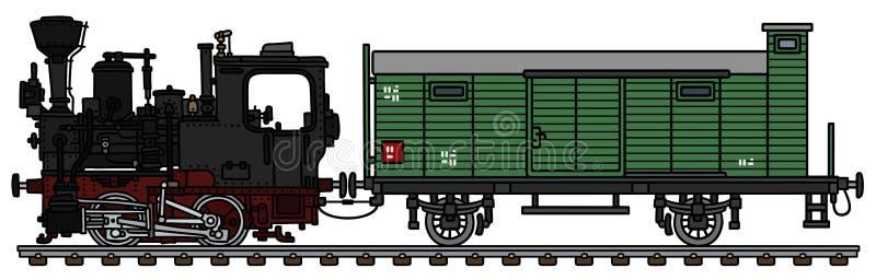 Stara mała parowa lokomotywa i frachtowy furgon ilustracja wektor