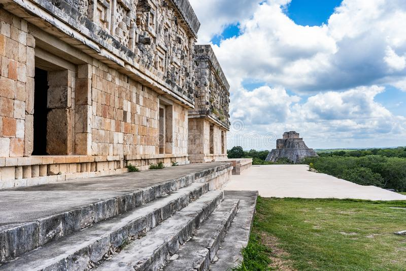 Stara majska świątynia blisko ciry Uxmal Jukatan Meksyk obrazy royalty free