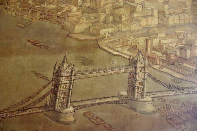 Stara mapa Londyn, wierza most fotografia stock
