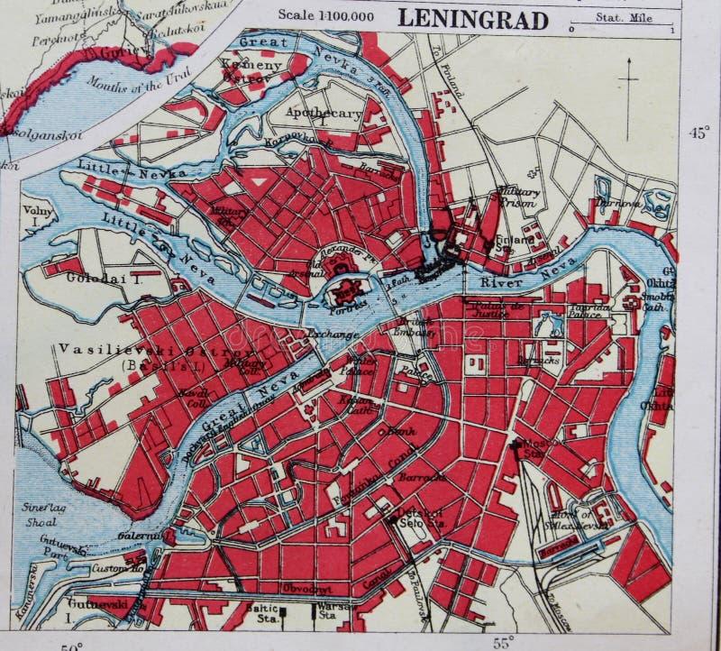 Stara 1945 mapa okolicy Leningrad, Rosja ilustracji