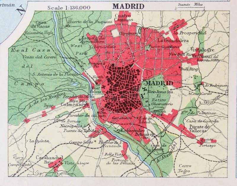 Stara 1945 mapa okolicy Madryt, Hiszpania ilustracja wektor