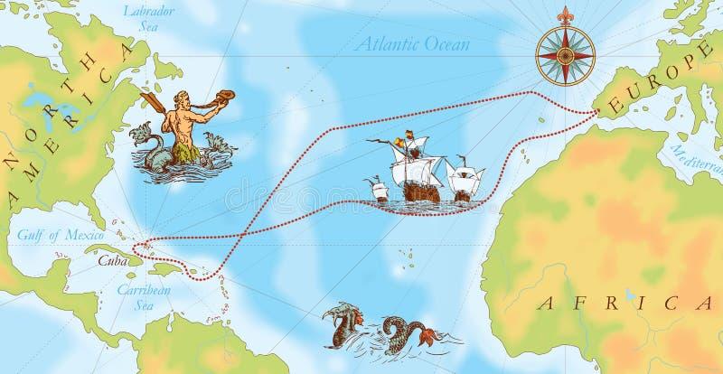 Stara marynarki wojennej mapa. Christopher Kolumb sposób ilustracja wektor