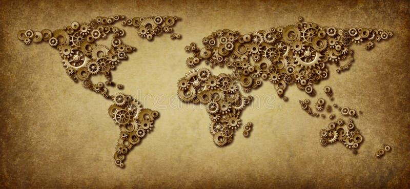 stara międzynarodowa gospodarki mapa royalty ilustracja
