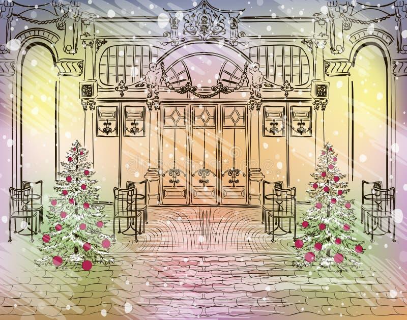Stara miasto kawiarnia z Bożenarodzeniowymi dekoracjami royalty ilustracja