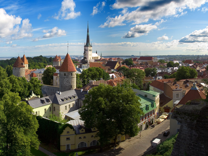 stara miasto panorama Tallinn obraz royalty free