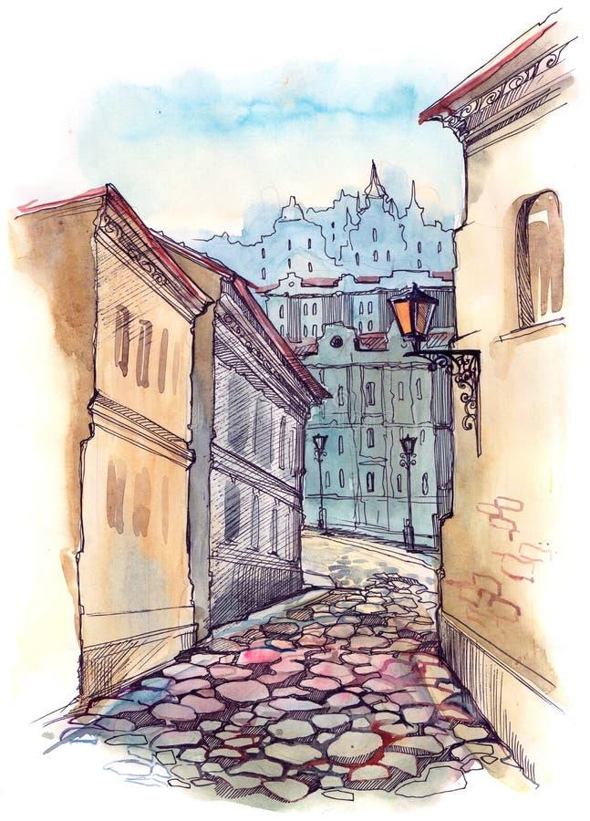 stara miasto ulica royalty ilustracja