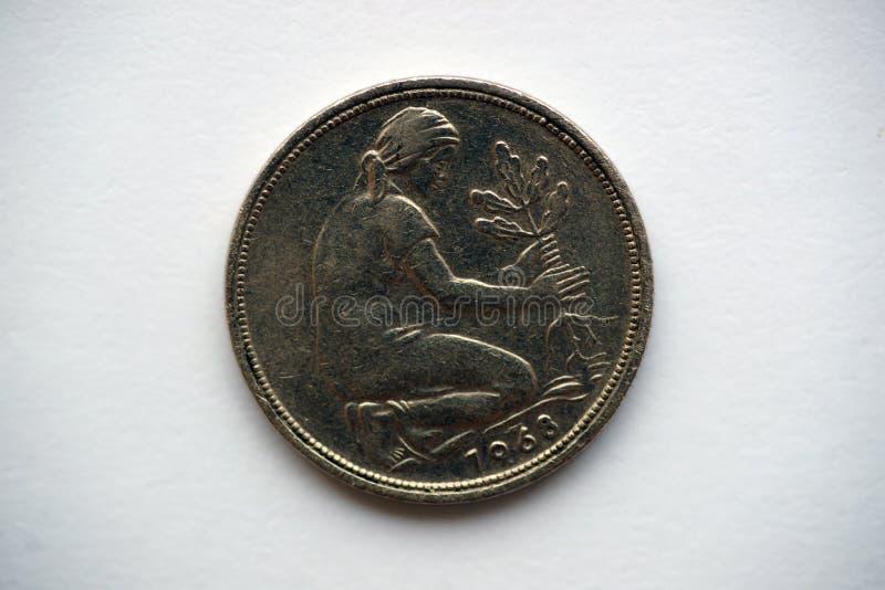 Stara niemiec moneta - fenig zdjęcie stock