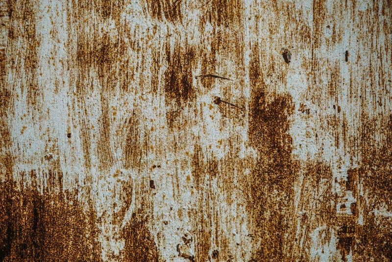 Stara ośniedziała żelazna tekstura, drapająca farba na kruszcowej powierzchni, grunge szorstki metal prześcieradło, kopii przestr zdjęcie royalty free