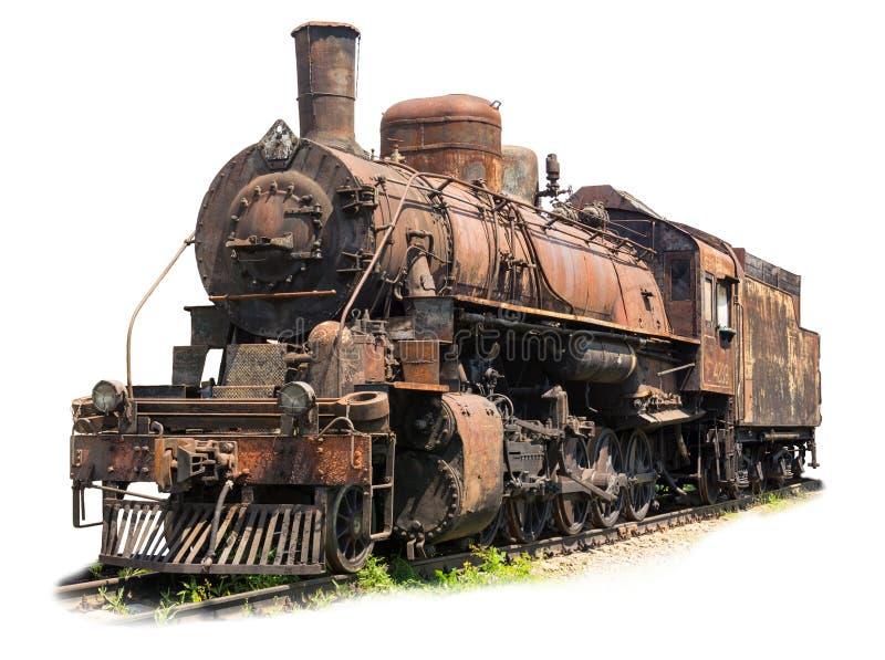 Stara ośniedziała parowa lokomotywa na białym tle zdjęcia royalty free