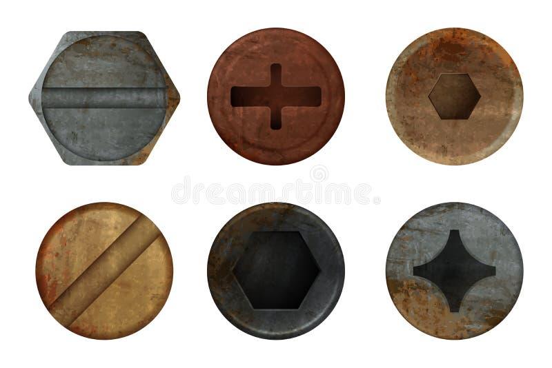 Stara ośniedziała rygiel śruba Narzędzia metalu zrudziała tekstura dla różnych żelaznych narzędzi Wektorowi realistyczni obrazki royalty ilustracja