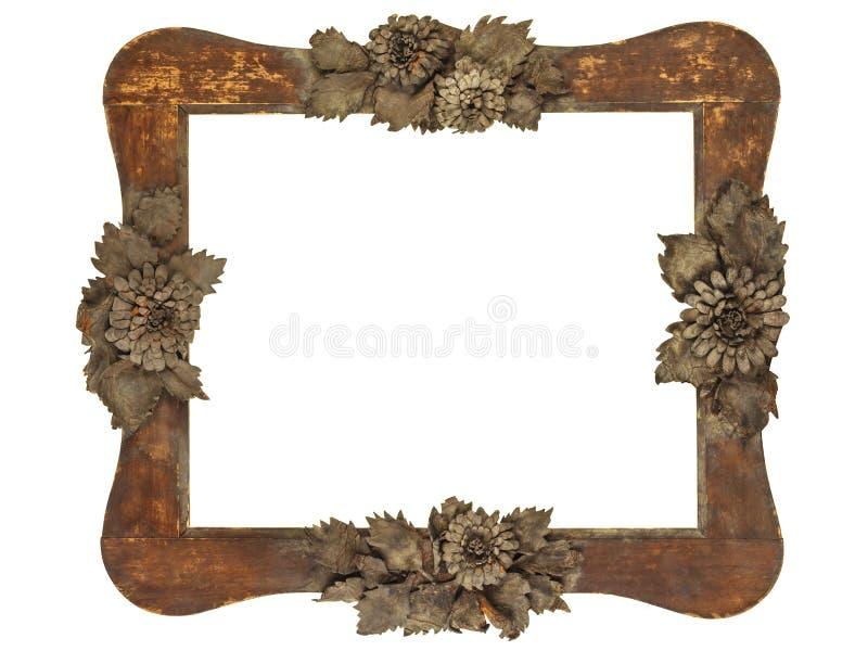 Stara obrazek rama z drewna cięcia popielatymi kwiatami odizolowywającymi na bielu obraz royalty free