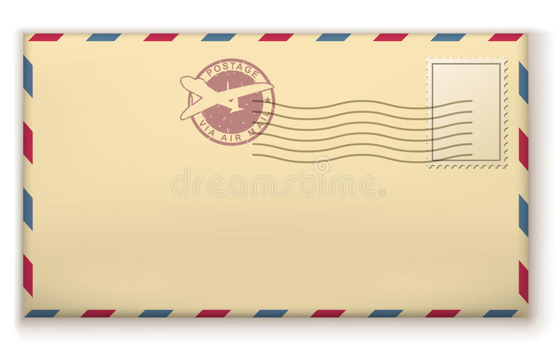 Stara opłaty pocztowa koperta royalty ilustracja