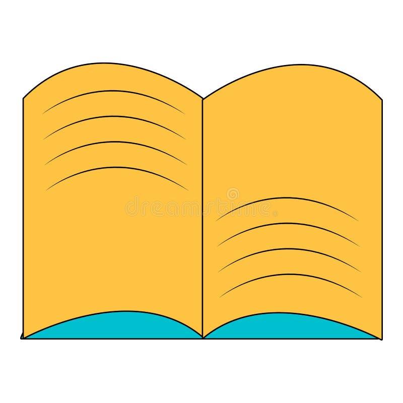 Stara otwarta magii książki ikona, kreskówka styl ilustracji