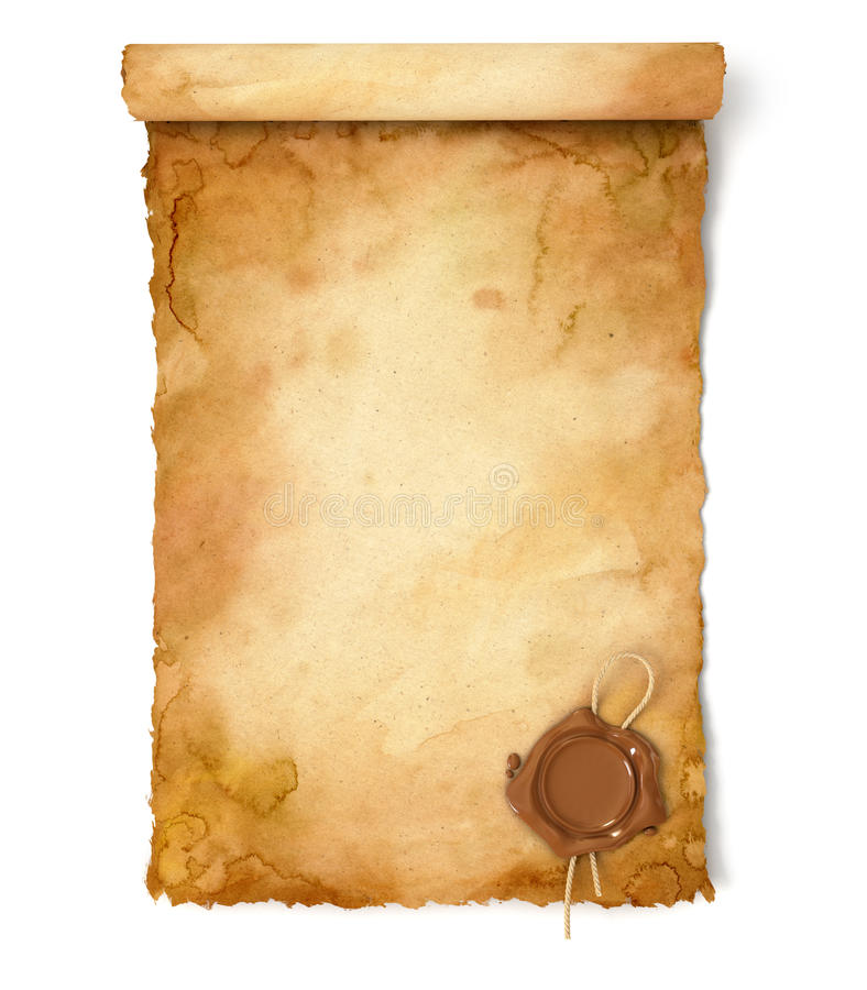 Stara papierowa ślimacznica z wosk foką zdjęcie royalty free