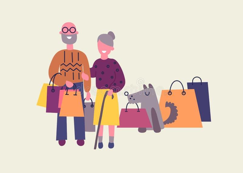 Stara para i pies trzymamy torby na zakupy z zakupami Sprzedaż przy sklepem Płaski projekt, wektorowa ilustracja ilustracja wektor
