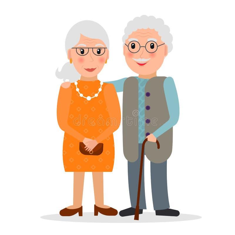 Stara para jest ubranym szkła ilustracja wektor