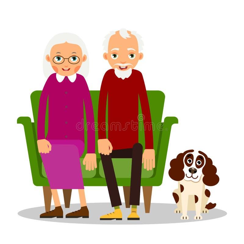stara para Na kobiecie, mężczyzna i psie kanapy siedzących starszych, Ol ilustracji
