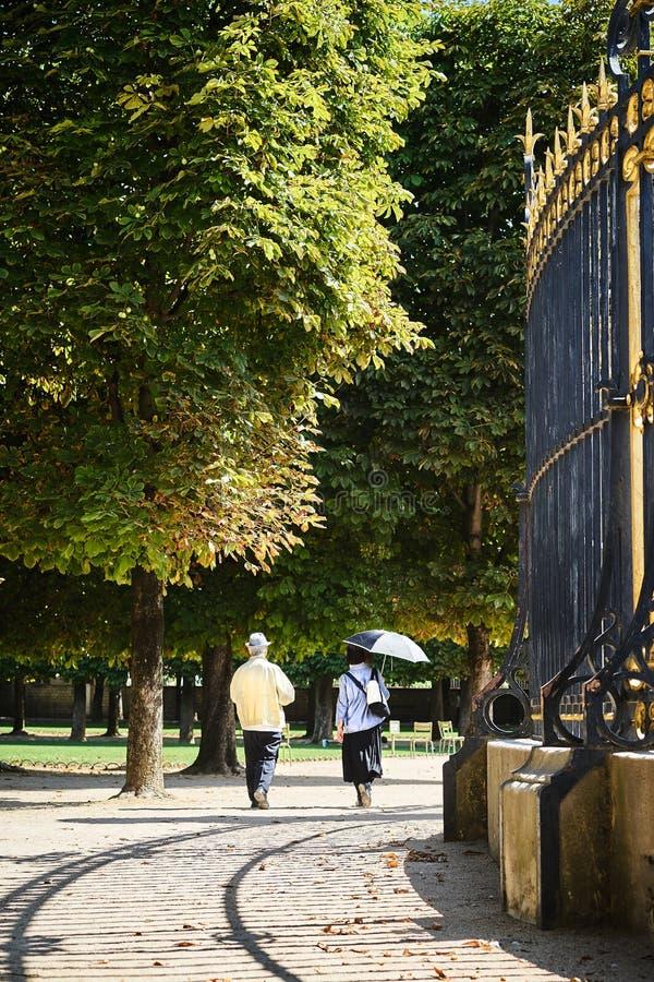 Stara para spaceruje przez parka fotografia stock
