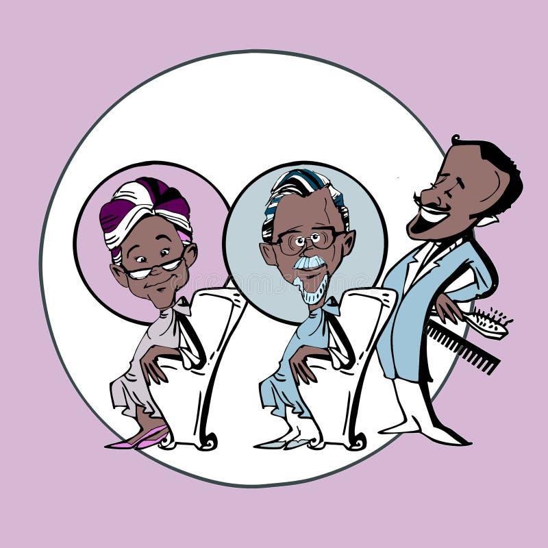 Stara para w włosianym salonie royalty ilustracja
