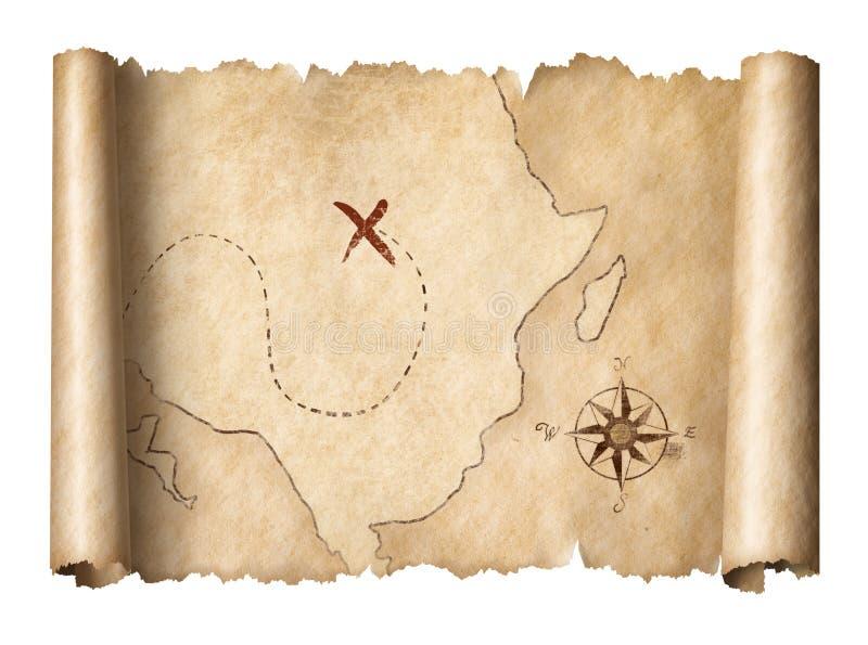 Stara pirata skarbu ślimacznicy mapa odizolowywał 3d ilustrację ilustracja wektor