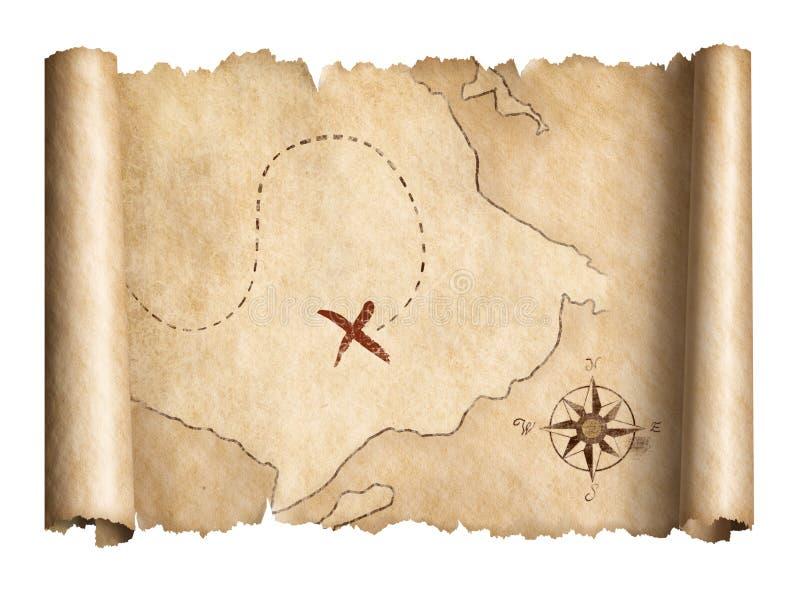 Stara pirata skarbu ślimacznicy mapa odizolowywał 3d ilustrację royalty ilustracja