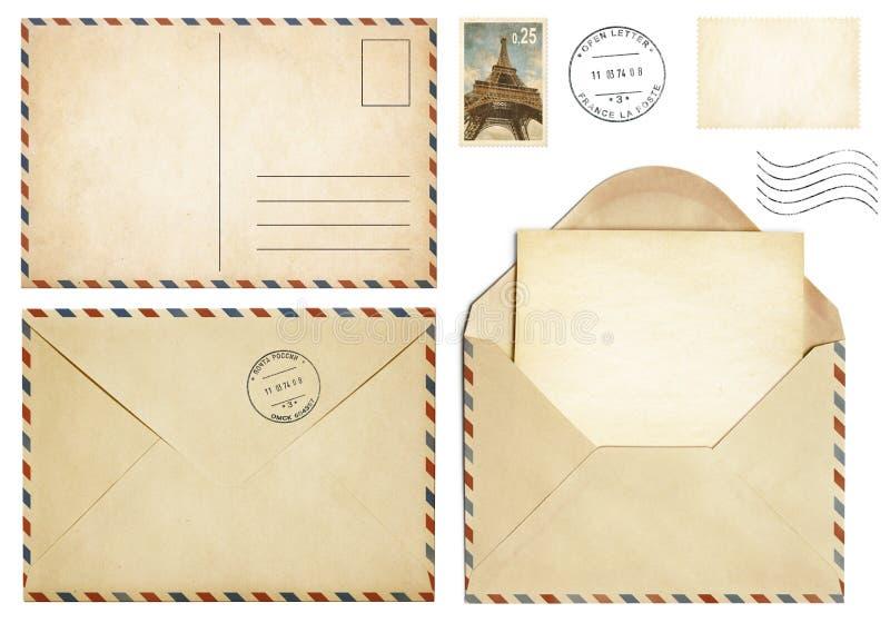 Stara pocztówka, poczta koperta, otwarty list, stemplowa kolekcja obraz stock