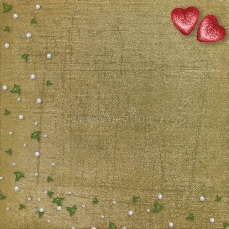Stara podława karta z symbolicznym sercem dla walentynka dnia royalty ilustracja