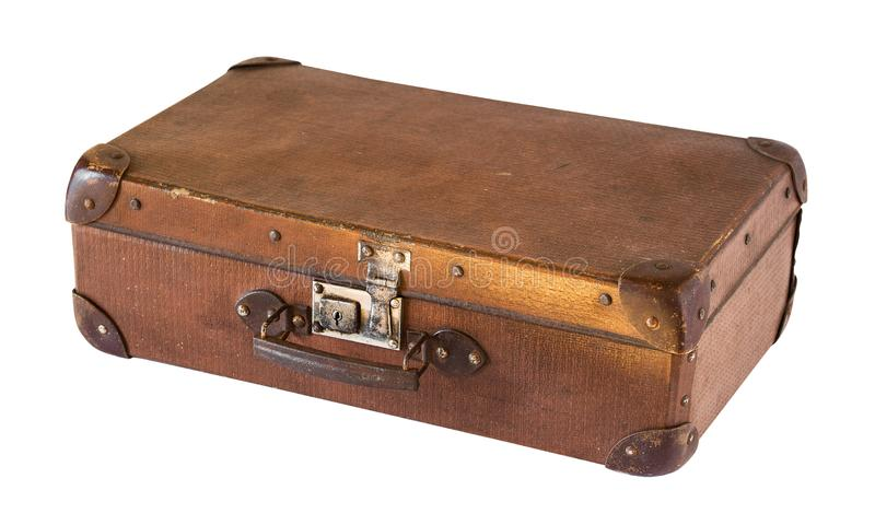 Stara pod?awa rocznik walizka odizolowywaj?ca na bia?ym tle styl retro obraz stock