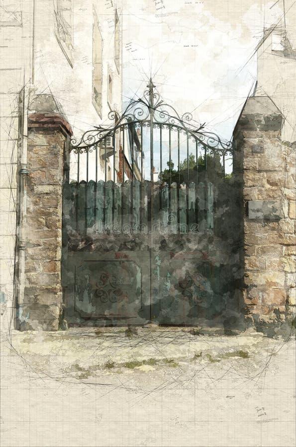 Stara podjazd brama ilustracji