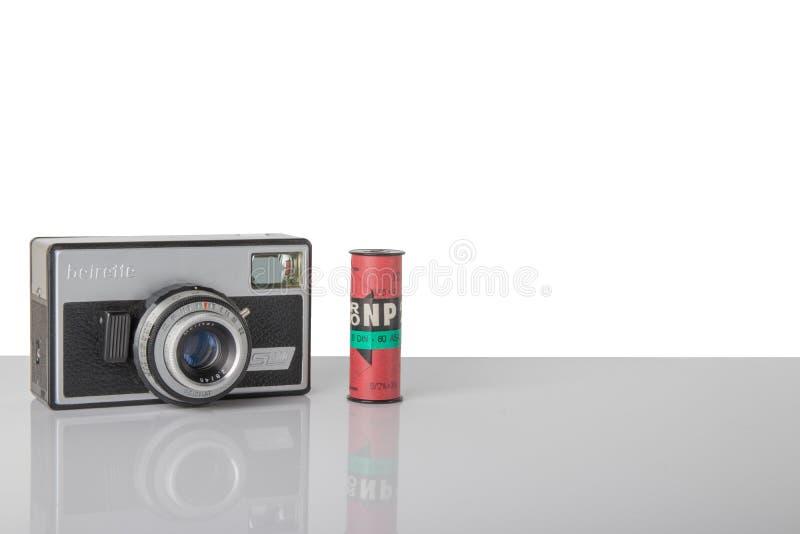 Stara poprzedniego GDR kamera wymieniał beirette sl300 i rocznika czerń a obrazy stock