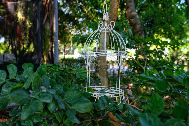 Stara ptasia klatka z rdzą zdjęcia stock