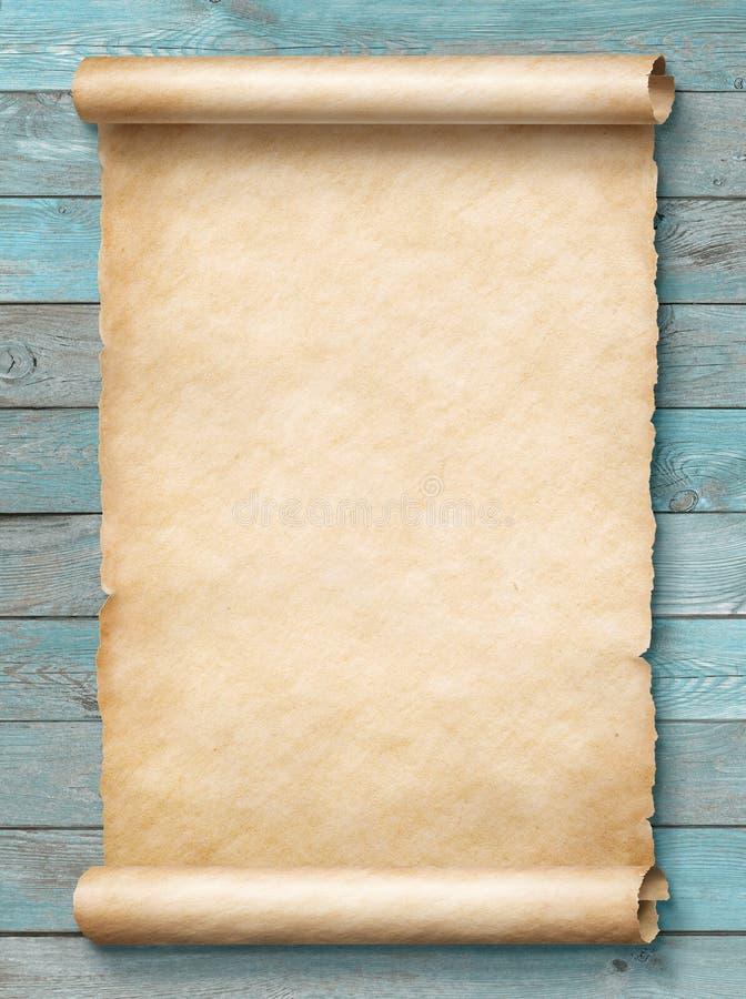 Stara pustego papieru ślimacznica na błękitnej tła 3d ilustraci royalty ilustracja