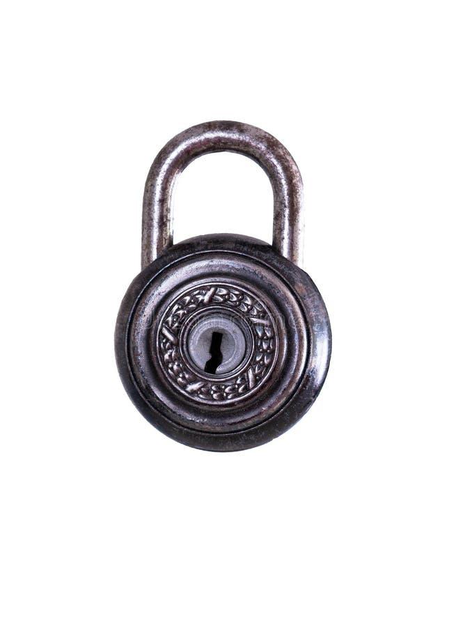 Stara rdzewiała kłódka zamknięta na białym tle zdjęcia royalty free