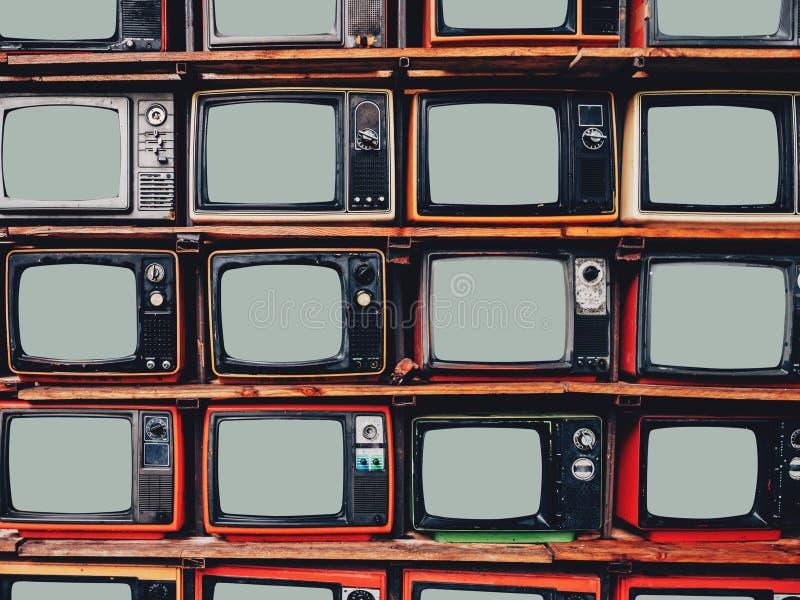 Stara retro telewizja i pusty parawanowy pokaz zdjęcie royalty free