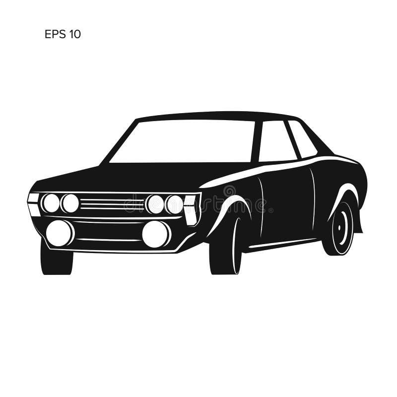 Stara retro zlotna samochodowa wektorowa ilustracyjna ikona ilustracji