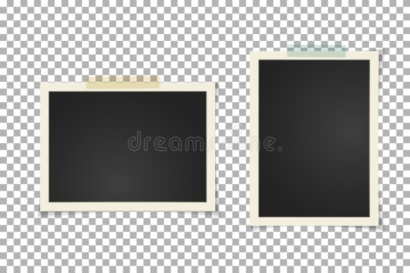 Stara rocznik fotografii rama na przejrzystym tle Natychmiastowa Horyzontalna i pionowo pusta stara fotografia na kleistej taśmie royalty ilustracja