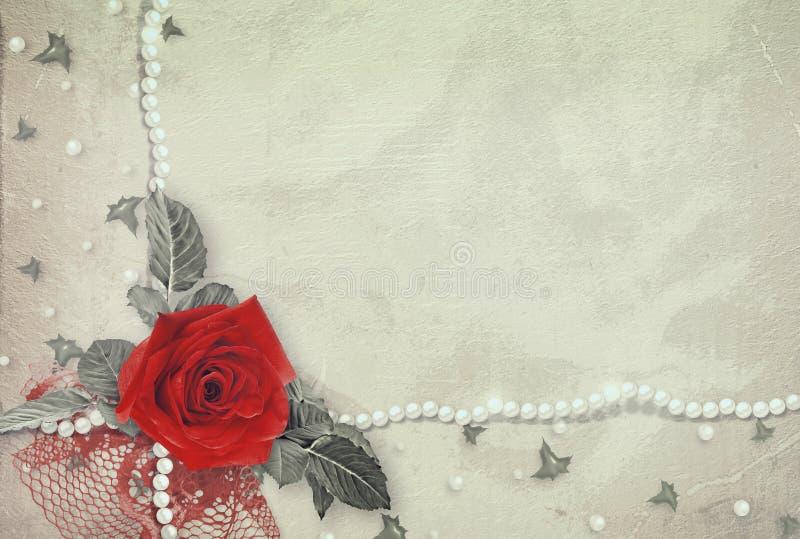 Stara rocznik karta z różą, koronką i perłami czerwieni, ilustracja wektor