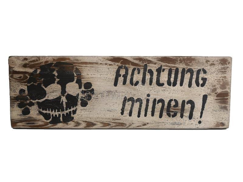 stara rocznik osłony Achtung Minen kopalni WK2 niebezpieczna niemiec fotografia stock
