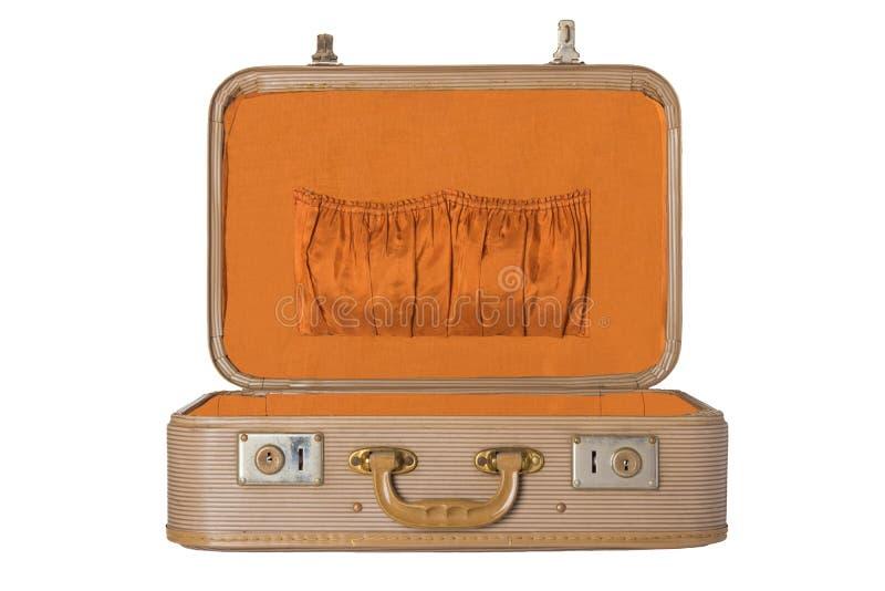 Stara rocznik walizka na białym tle odizolowywającym Pojęcia tra obrazy stock