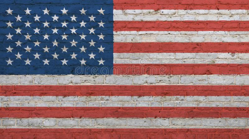 Stara rocznika amerykanina USA flaga nad ściana z cegieł zdjęcie stock