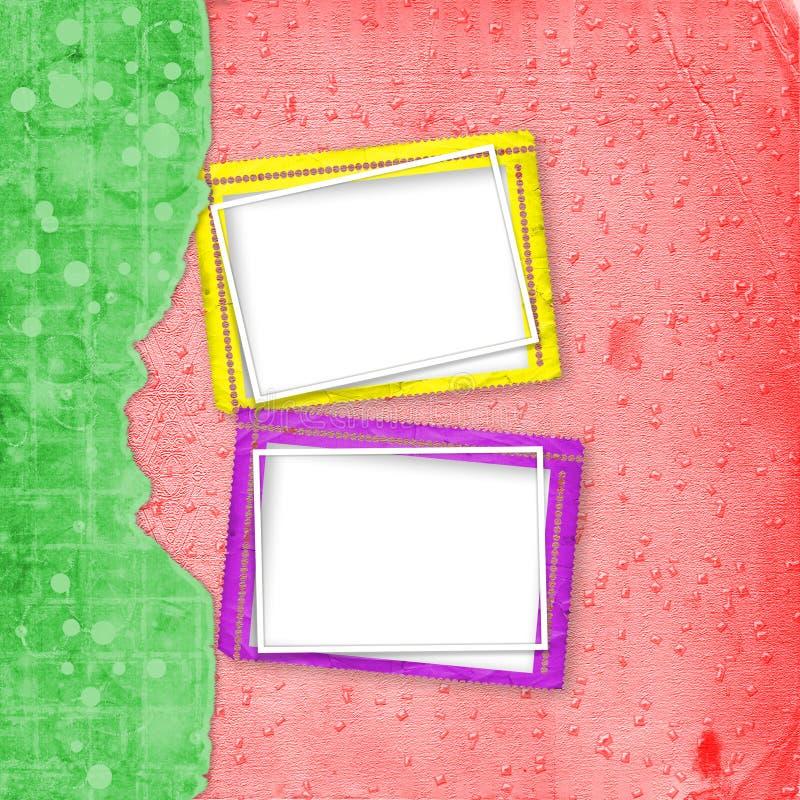 Stara rocznika papieru albumu pokrywa z faborkiem dla fotografii ilustracji