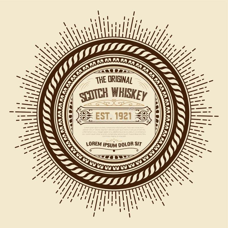 stara rocznika whisky etykietka royalty ilustracja