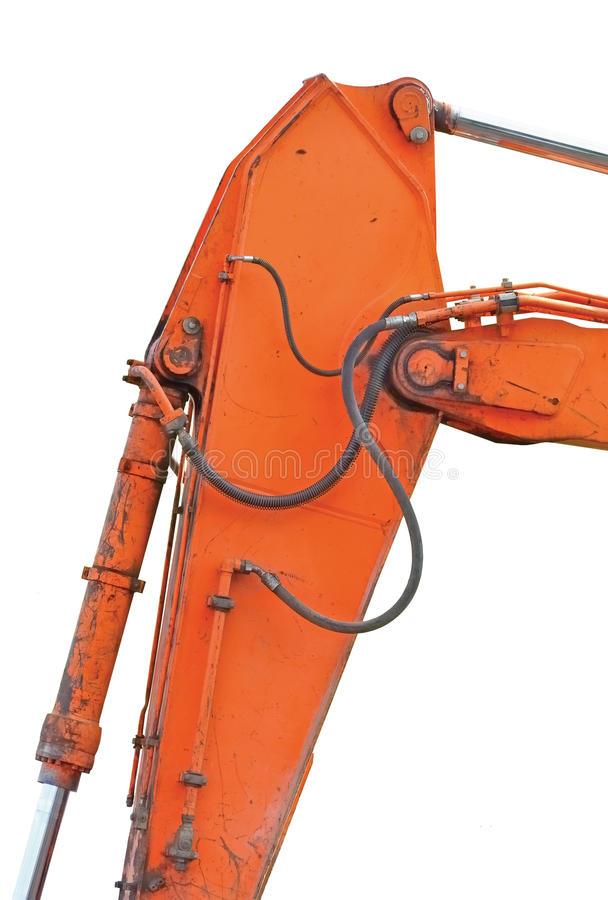 Stara Rodzajowa ekskawator chochla, huk Plus wiadro baranu Pionowo zbliżenie I, Odosobneni Pomarańczowego koloru żółtego szczegół zdjęcie stock