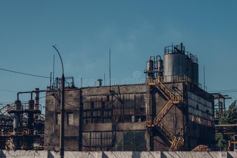 Stara Rosyjska przemysłowa fabryczna powierzchowność, przemysłowy budynek obrazy stock