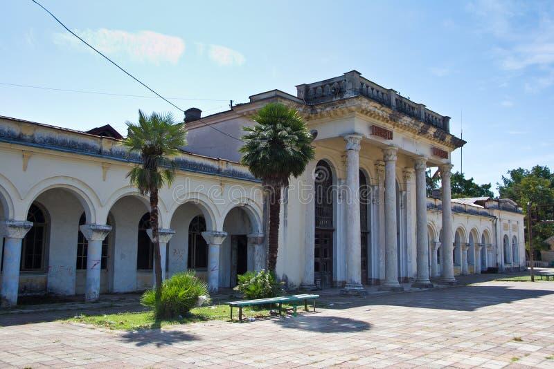 Stara rujnująca zaniechana stacja kolejowa Abkhazia zdjęcia royalty free