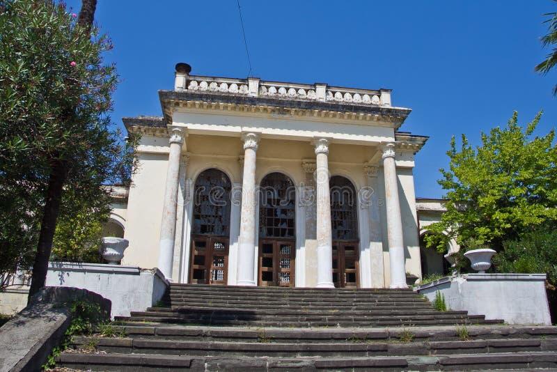 Stara rujnująca zaniechana stacja kolejowa w Gudauta, Abkhazia zdjęcie royalty free