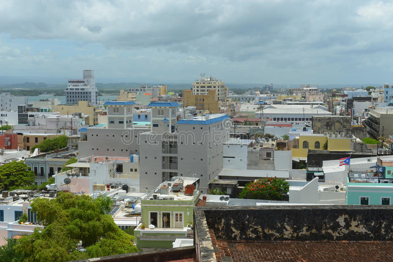 Stara San Juan miasta linia horyzontu, Puerto Rico zdjęcie royalty free