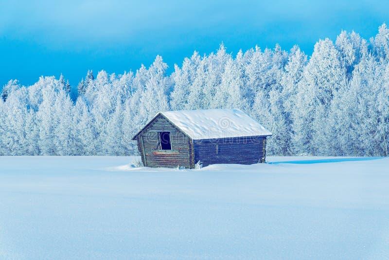 Stara stajnia w Śnieżnej zimie przy Bożenarodzeniowym Finlandia Lapland zdjęcia stock